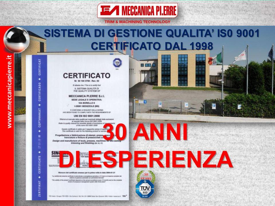 30 ANNI DI ESPERIENZA SISTEMA DI GESTIONE QUALITA IS0 9001 CERTIFICATO DAL 1998