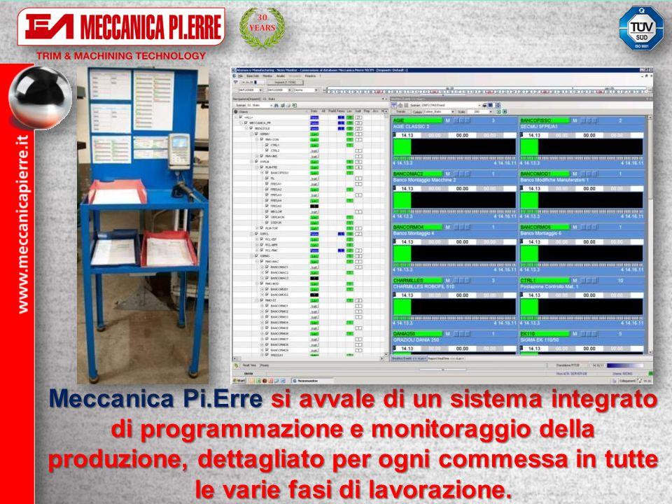 Meccanica Pi.Erre si avvale di un sistema integrato di programmazione e monitoraggio della produzione, dettagliato per ogni commessa in tutte le varie