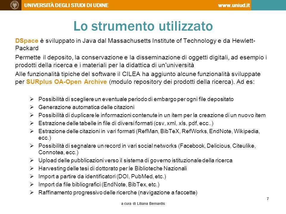 UNIVERSITÀ DEGLI STUDI DI UDINEwww.uniud.it Lo strumento utilizzato DSpace è sviluppato in Java dal Massachusetts Institute of Technology e da Hewlett