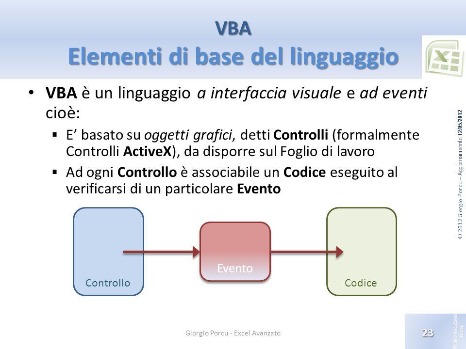© 2012 Giorgio Porcu – Aggiornamennto 12/05/2012 P ERSONALIZZARE E XCEL VBA è un linguaggio a interfaccia visuale e ad eventi cioè: E basato su oggett