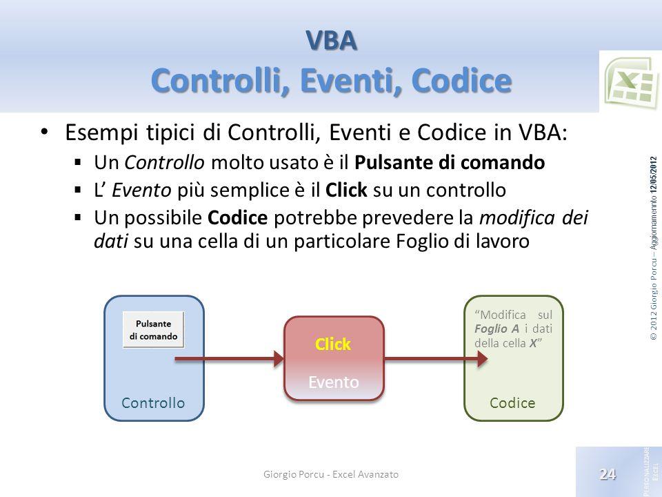 © 2012 Giorgio Porcu – Aggiornamennto 12/05/2012 P ERSONALIZZARE E XCEL Controllo Evento Codice Esempi tipici di Controlli, Eventi e Codice in VBA: Un