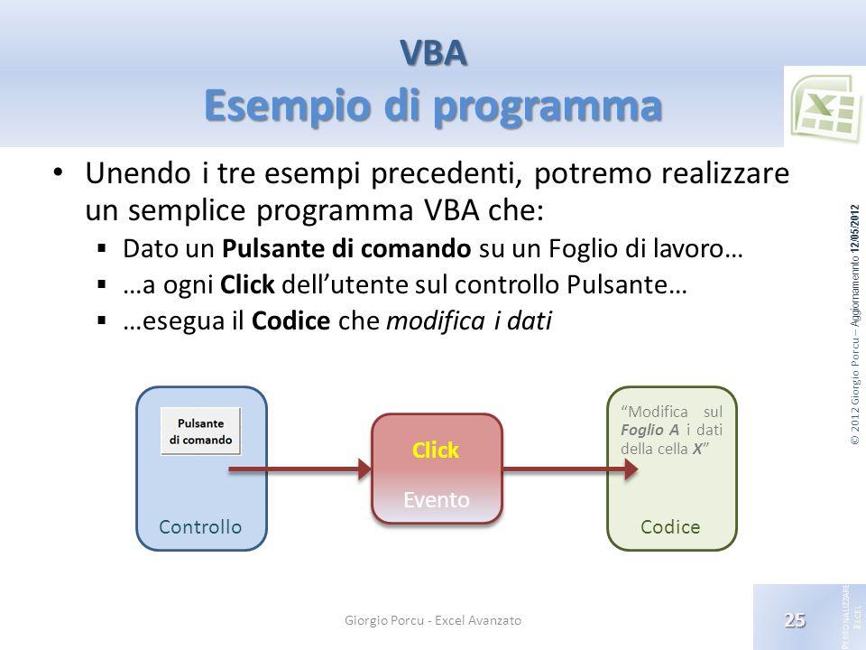 © 2012 Giorgio Porcu – Aggiornamennto 12/05/2012 P ERSONALIZZARE E XCEL Unendo i tre esempi precedenti, potremo realizzare un semplice programma VBA c