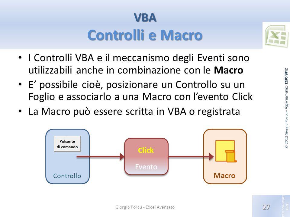 © 2012 Giorgio Porcu – Aggiornamennto 12/05/2012 P ERSONALIZZARE E XCEL I Controlli VBA e il meccanismo degli Eventi sono utilizzabili anche in combin