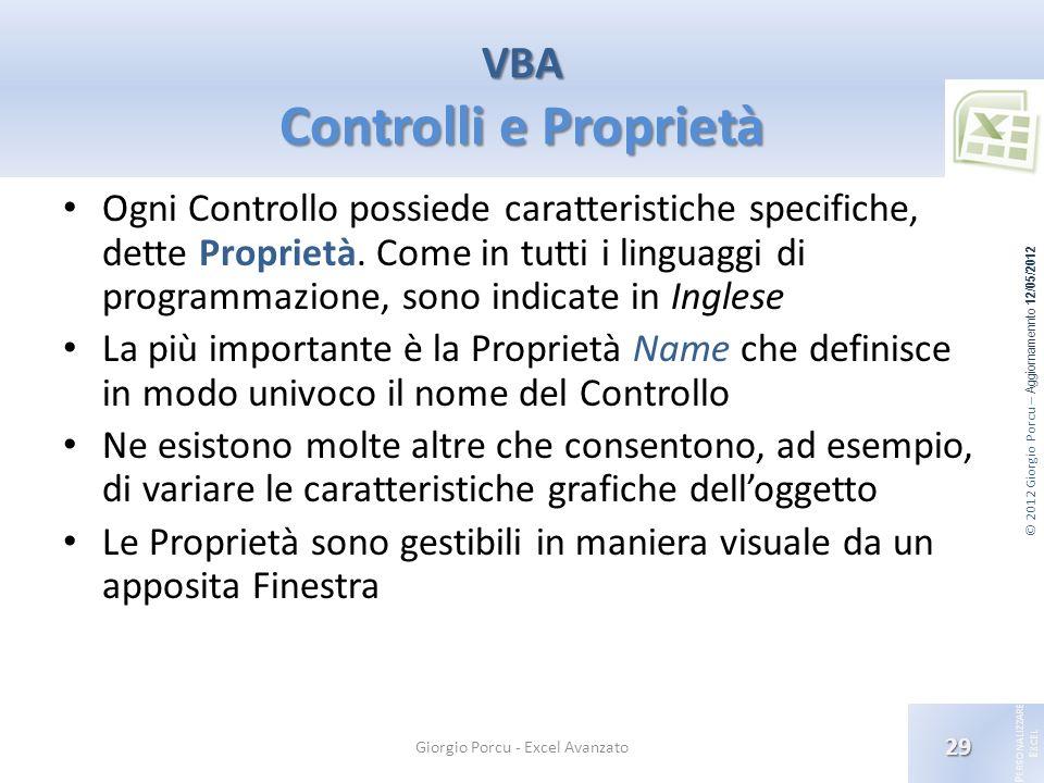© 2012 Giorgio Porcu – Aggiornamennto 12/05/2012 P ERSONALIZZARE E XCEL Ogni Controllo possiede caratteristiche specifiche, dette Proprietà. Come in t