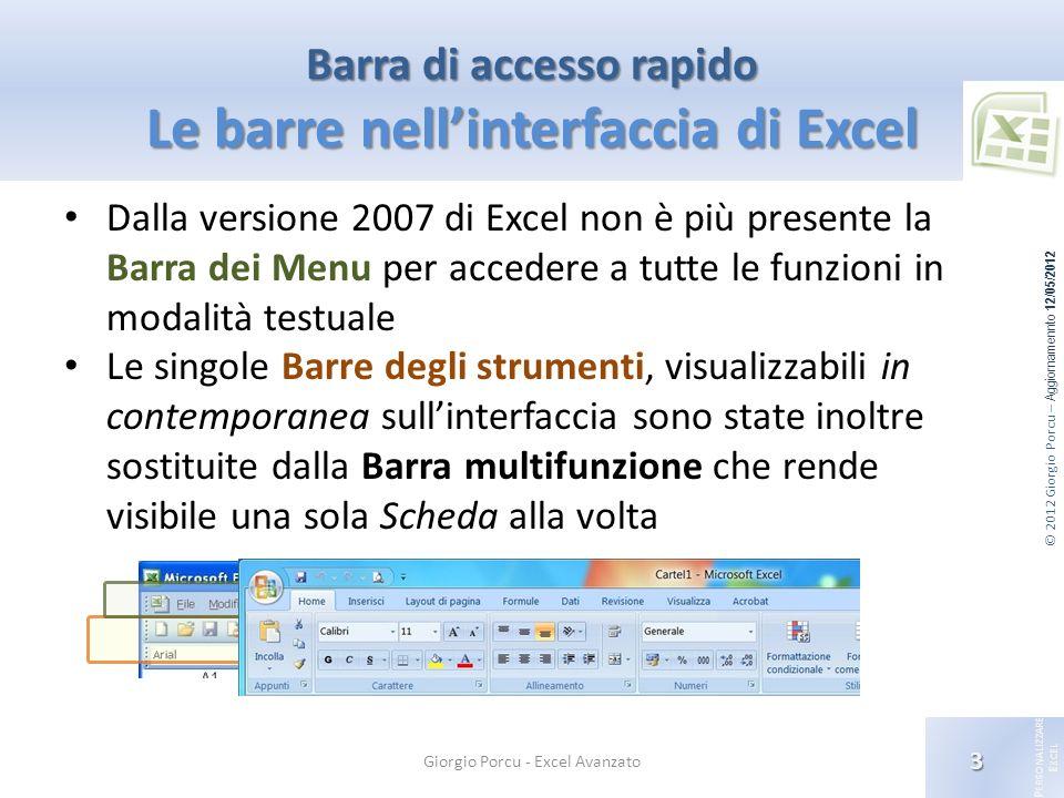 © 2012 Giorgio Porcu – Aggiornamennto 12/05/2012 P ERSONALIZZARE E XCEL Barra di accesso rapido Le barre nellinterfaccia di Excel Dalla versione 2007