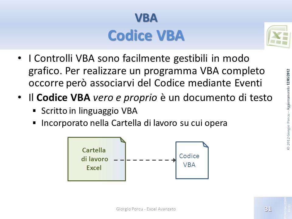 © 2012 Giorgio Porcu – Aggiornamennto 12/05/2012 P ERSONALIZZARE E XCEL I Controlli VBA sono facilmente gestibili in modo grafico. Per realizzare un p
