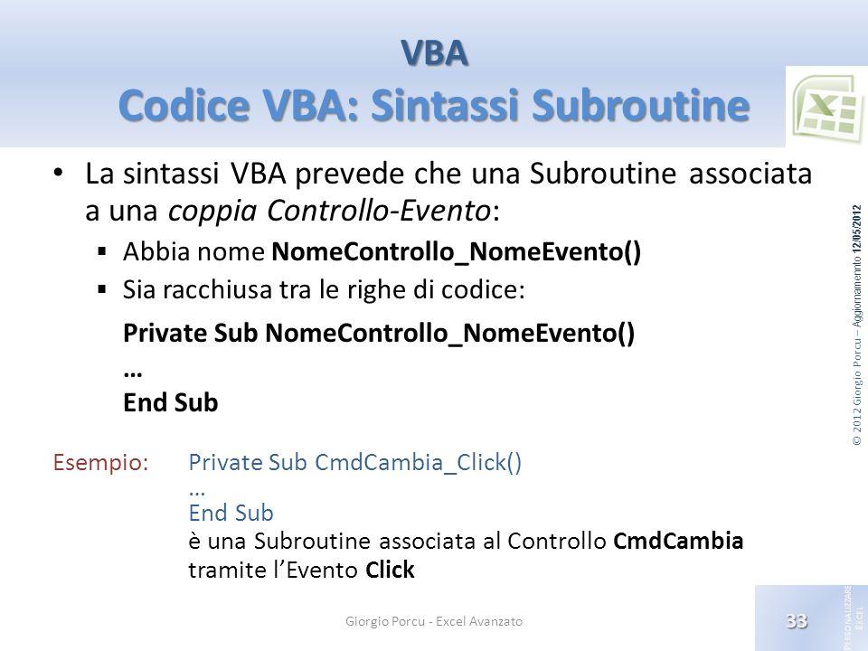 © 2012 Giorgio Porcu – Aggiornamennto 12/05/2012 P ERSONALIZZARE E XCEL La sintassi VBA prevede che una Subroutine associata a una coppia Controllo-Ev