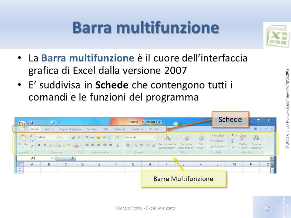 © 2012 Giorgio Porcu – Aggiornamennto 12/05/2012 P ERSONALIZZARE E XCEL Barra multifunzione La Barra multifunzione è il cuore dellinterfaccia grafica