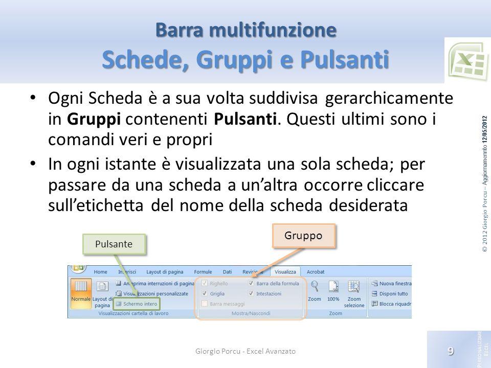 © 2012 Giorgio Porcu – Aggiornamennto 12/05/2012 P ERSONALIZZARE E XCEL Ogni Scheda è a sua volta suddivisa gerarchicamente in Gruppi contenenti Pulsa