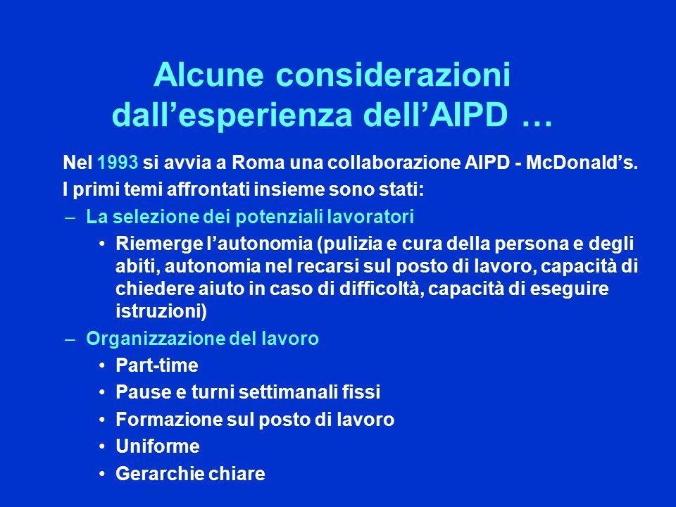 Nel 1993 si avvia a Roma una collaborazione AIPD - McDonalds.