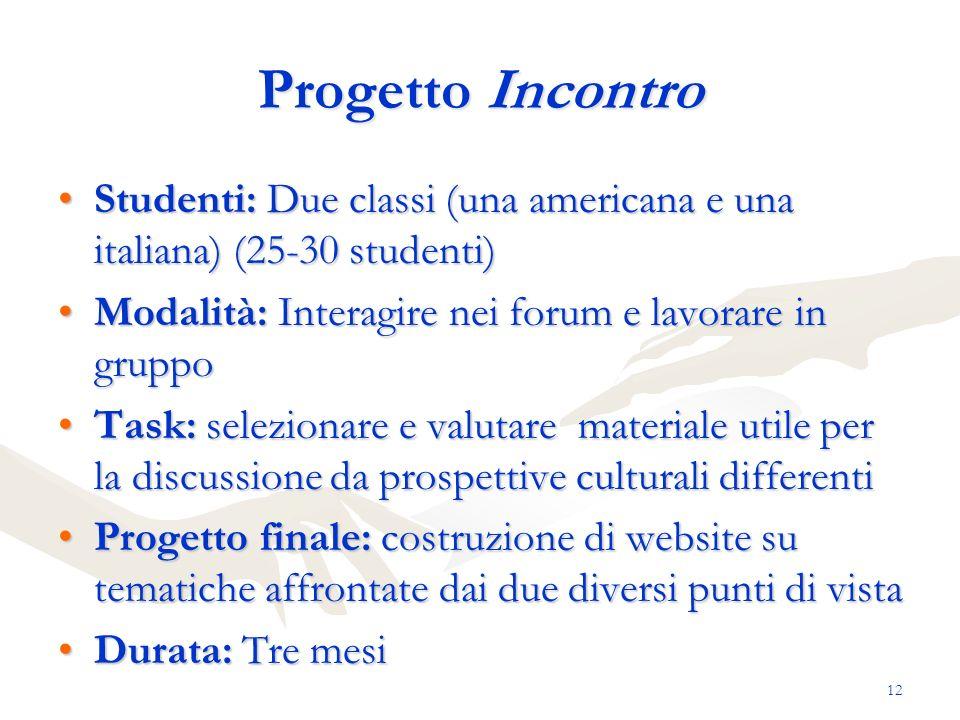 12 Progetto Incontro Studenti: Due classi (una americana e una italiana) (25-30 studenti)Studenti: Due classi (una americana e una italiana) (25-30 st