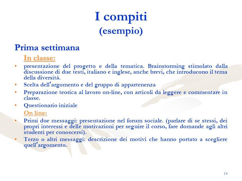14 I compiti (esempio) Prima settimana In classe: presentazione del progetto e della tematica. Brainstorming stimolato dalla discussione di due testi,