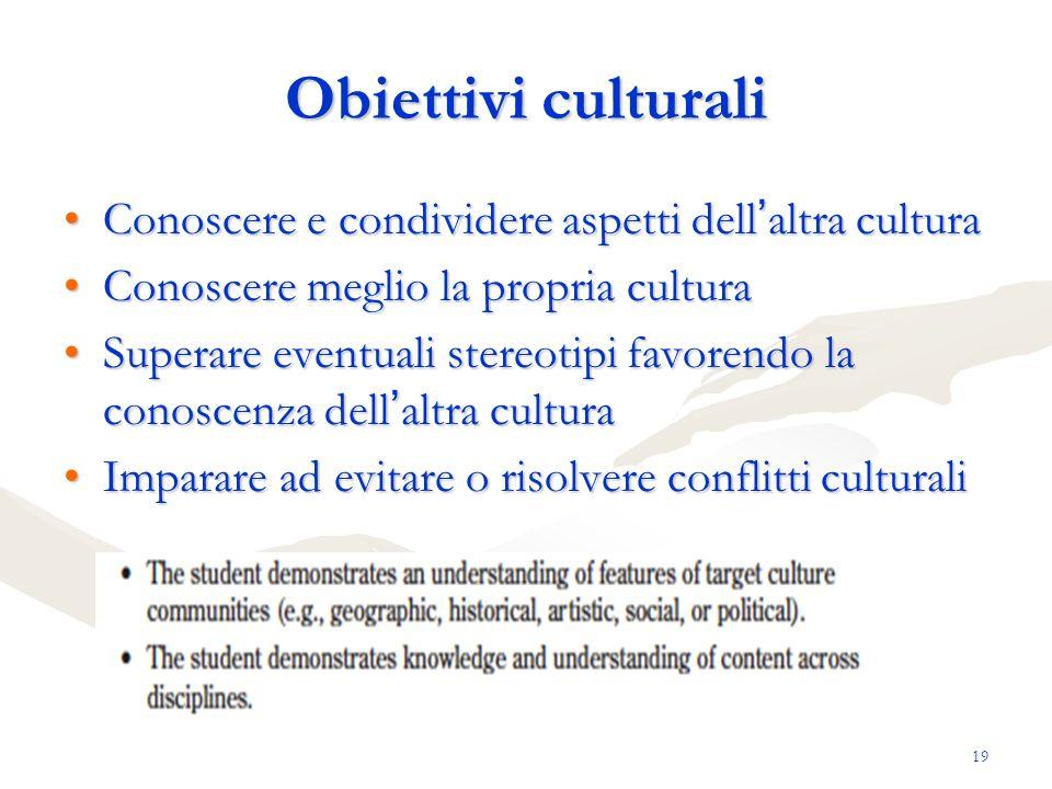 19 Obiettivi culturali Conoscere e condividere aspetti dell altra culturaConoscere e condividere aspetti dell altra cultura Conoscere meglio la propri