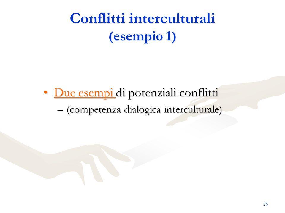 26 Conflitti interculturali (esempio 1) Due esempi di potenziali conflittiDue esempi di potenziali conflittiDue esempi Due esempi –(competenza dialogi