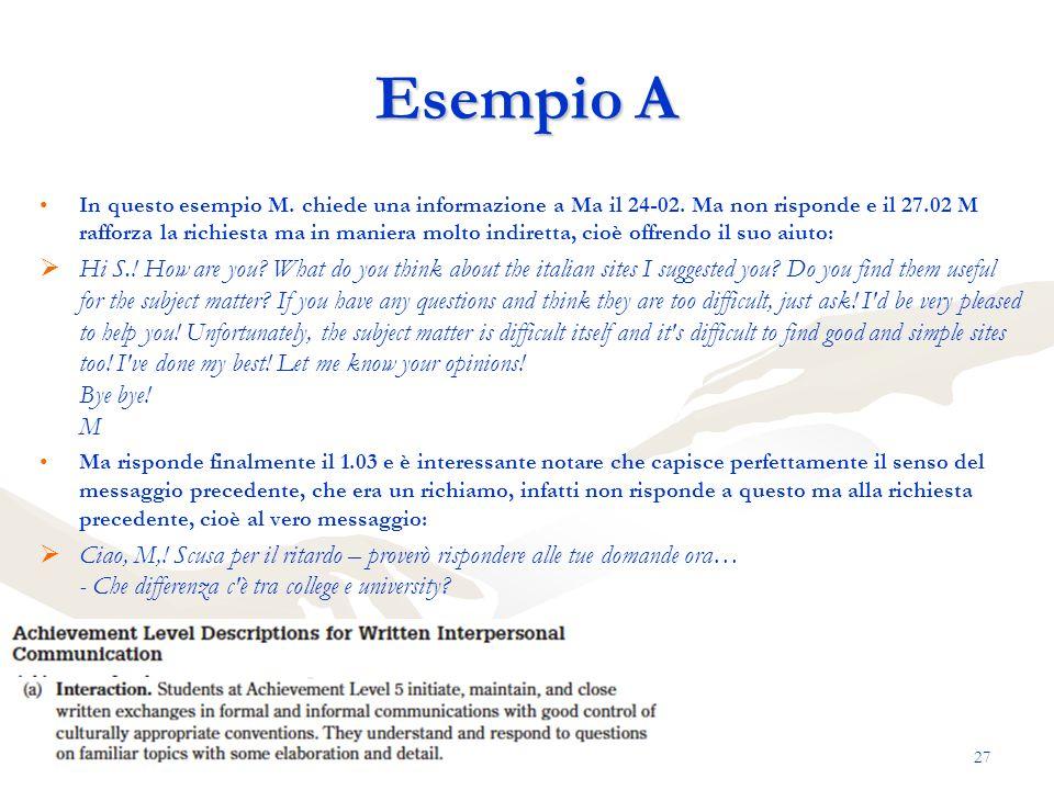 Esempio A In questo esempio M. chiede una informazione a Ma il 24-02. Ma non risponde e il 27.02 M rafforza la richiesta ma in maniera molto indiretta