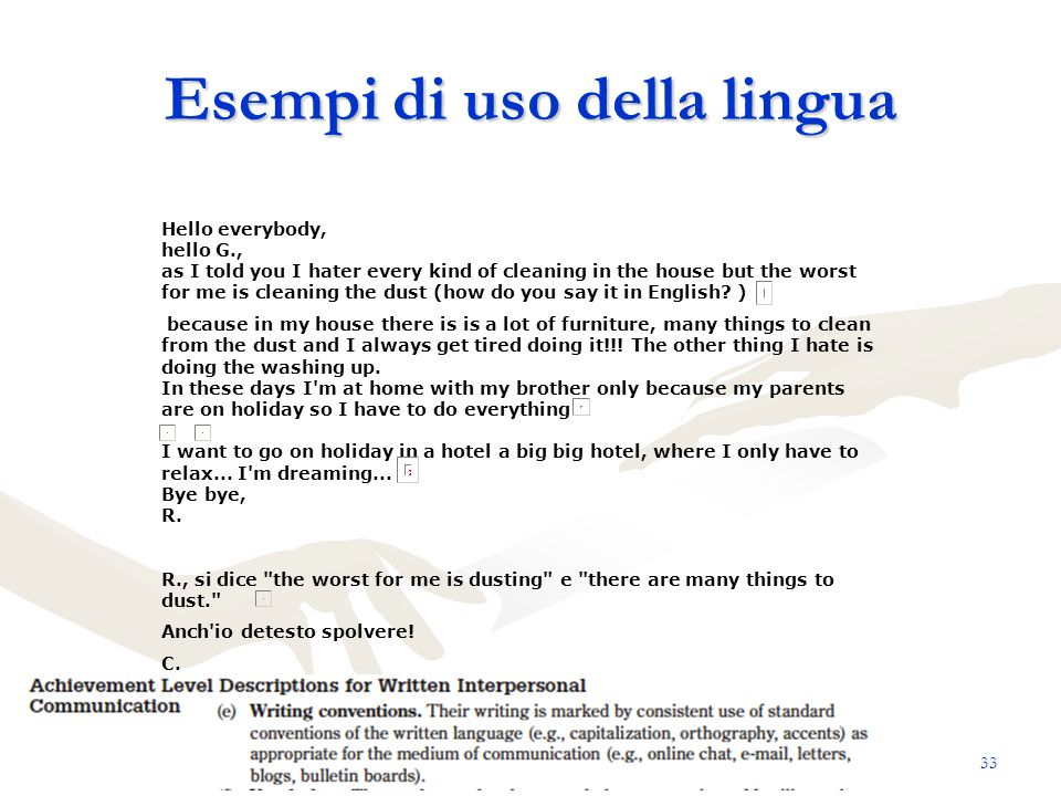 Esempi di uso della lingua Hello everybody, hello G., as I told you I hater every kind of cleaning in the house but the worst for me is cleaning the dust (how do you say it in English.