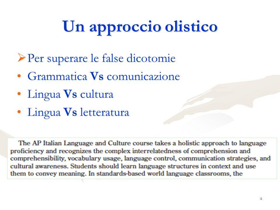 4 Un approccio olistico Per superare le false dicotomie Per superare le false dicotomie Grammatica Vs comunicazioneGrammatica Vs comunicazione Lingua