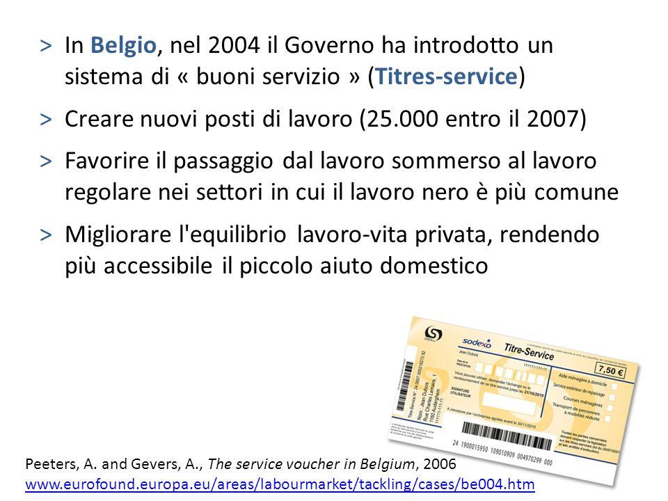 >In Belgio, nel 2004 il Governo ha introdotto un sistema di « buoni servizio » (Titres-service) >Creare nuovi posti di lavoro (25.000 entro il 2007) >