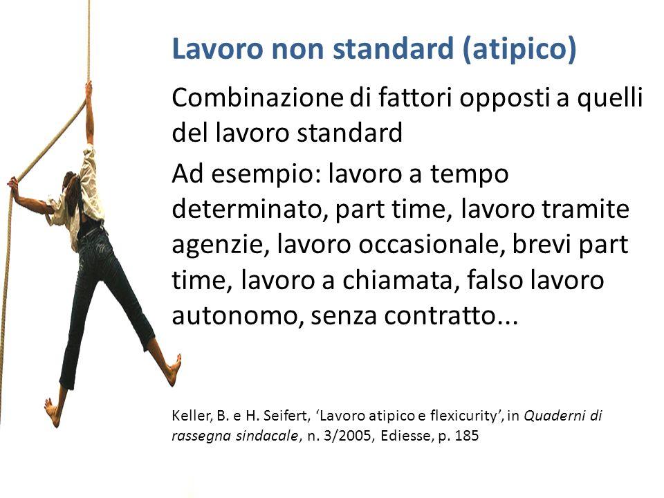 Lavoro non standard (atipico) Combinazione di fattori opposti a quelli del lavoro standard Ad esempio: lavoro a tempo determinato, part time, lavoro t