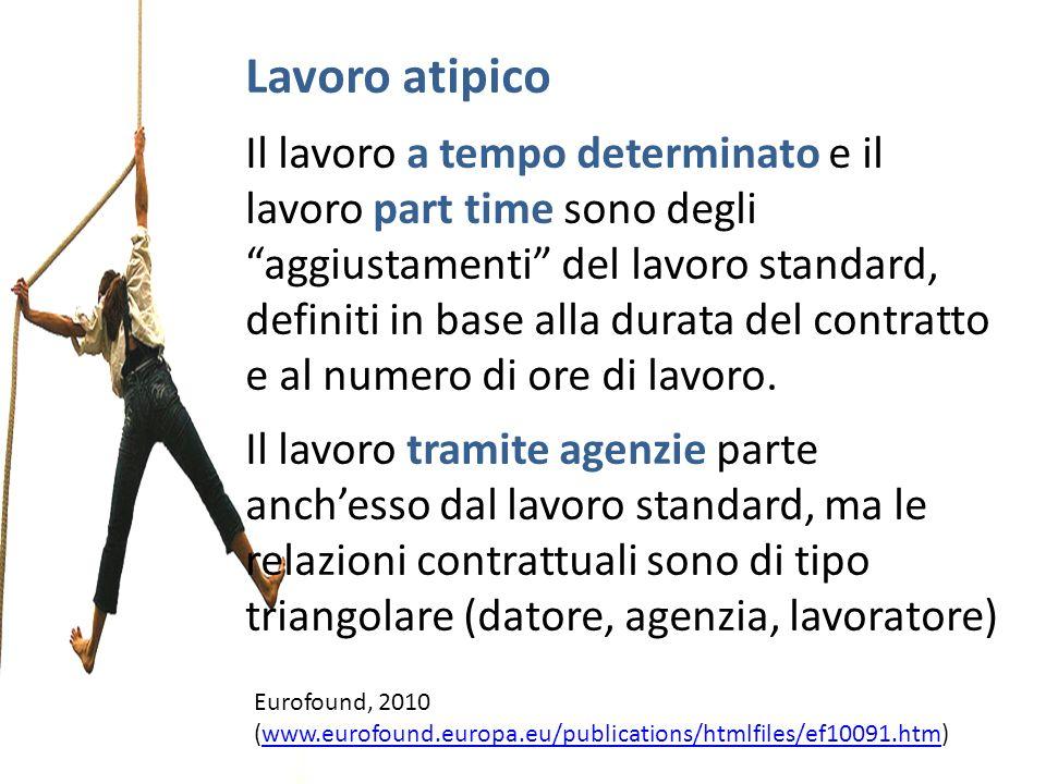Lavoro atipico Il lavoro a tempo determinato e il lavoro part time sono degli aggiustamenti del lavoro standard, definiti in base alla durata del cont