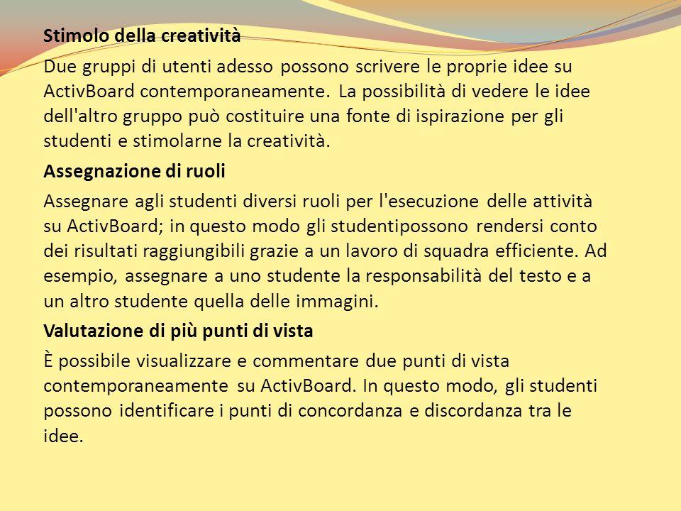 Stimolo della creatività Due gruppi di utenti adesso possono scrivere le proprie idee su ActivBoard contemporaneamente. La possibilità di vedere le id