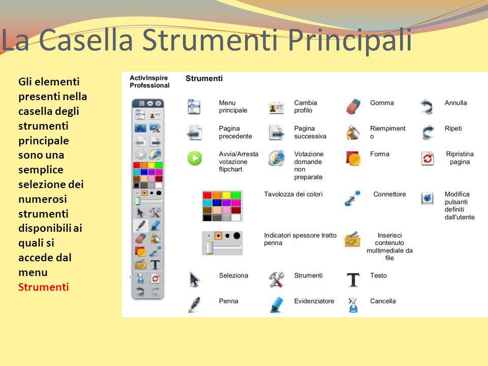 La Casella Strumenti Principali Gli elementi presenti nella casella degli strumenti principale sono una semplice selezione dei numerosi strumenti disp