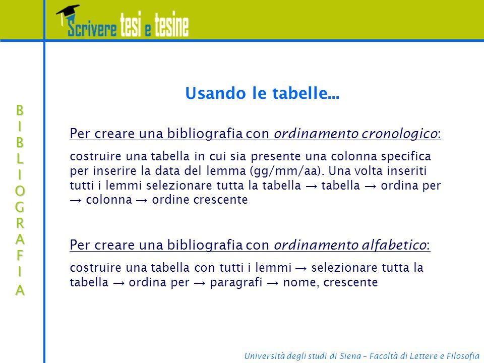 Università degli studi di Siena – Facoltà di Lettere e Filosofia BIBLIOGRAFIABIBLIOGRAFIABIBLIOGRAFIABIBLIOGRAFIA Usando le tabelle... Per creare una