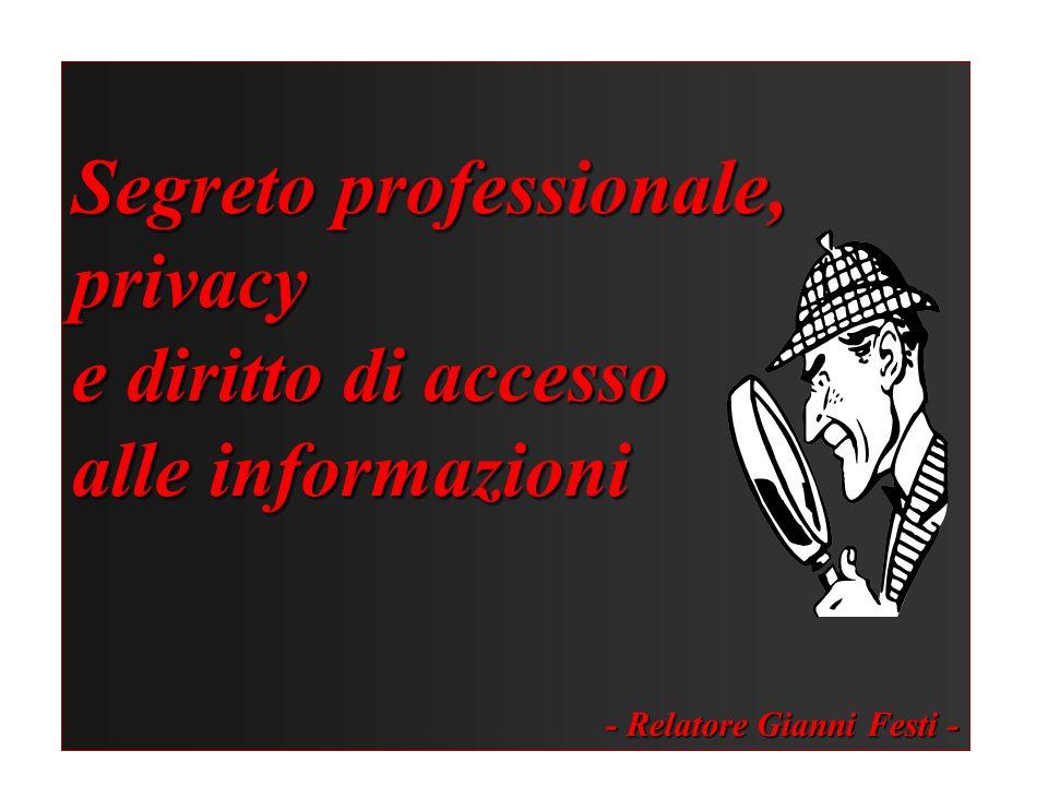 Segreto professionale, privacy e diritto di accesso alle informazioni - Relatore Gianni Festi -