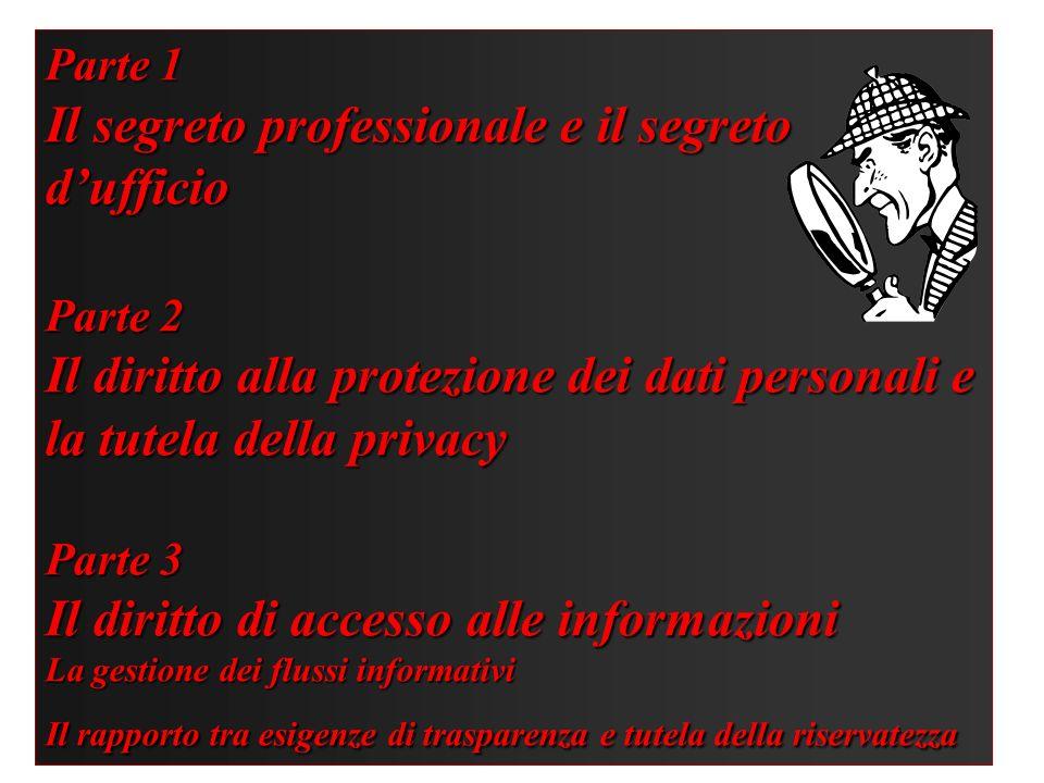 Parte 1 Il segreto professionale e il segreto dufficio Parte 2 Il diritto alla protezione dei dati personali e la tutela della privacy Parte 3 Il diri