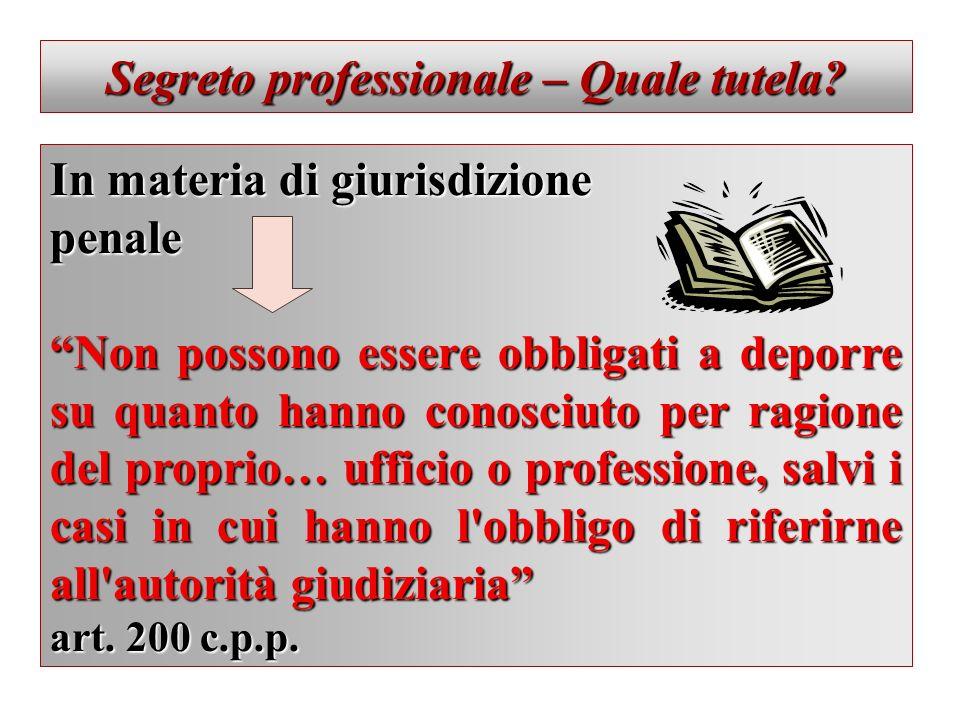 Segreto professionale – Quale tutela? In materia di giurisdizione penale Non possono essere obbligati a deporre su quanto hanno conosciuto per ragione