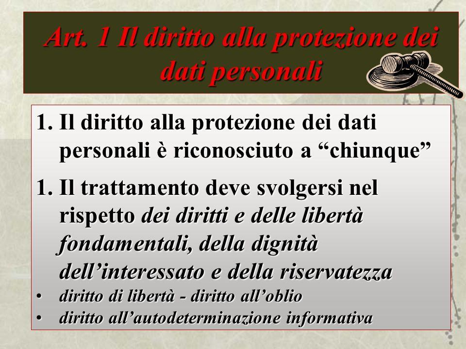 Art. 1 Il diritto alla protezione dei dati personali diritto alla protezione dei dati personali è riconosciuto a chiunque 1.Il diritto alla protezione