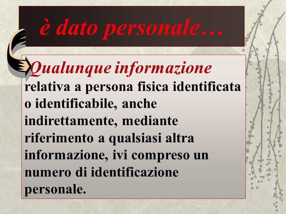 è dato personale… Qualunque informazione relativa a persona fisica identificata o identificabile, anche indirettamente, mediante riferimento a qualsia