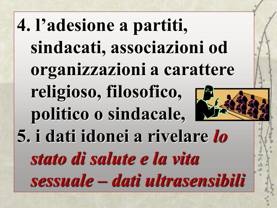4. ladesione a partiti, sindacati, associazioni od organizzazioni a carattere religioso, filosofico, politico o sindacale, politico o sindacale, 5. i