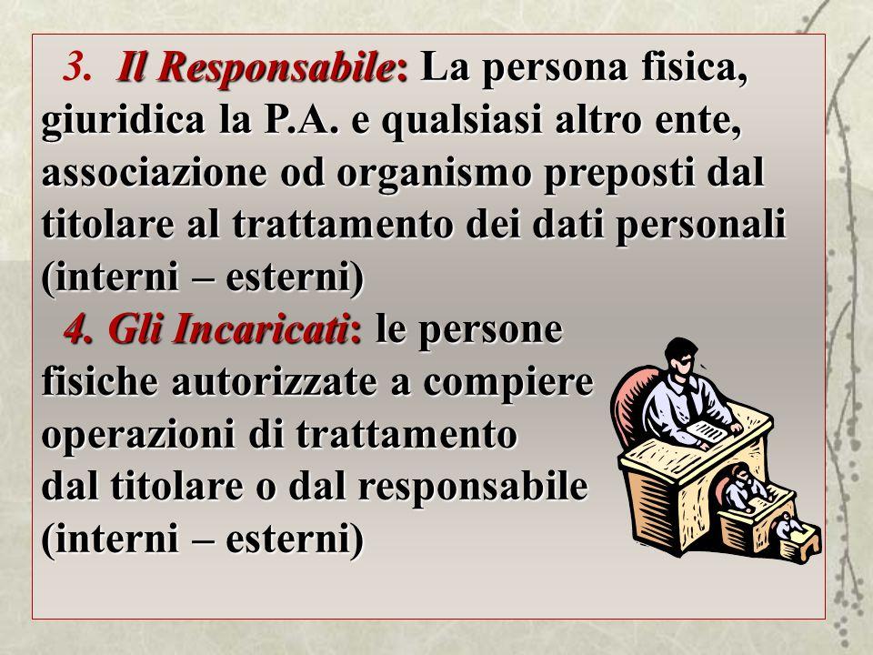 Il Responsabile: La persona fisica, giuridica la P.A. e qualsiasi altro ente, associazione od organismo preposti dal titolare al trattamento dei dati