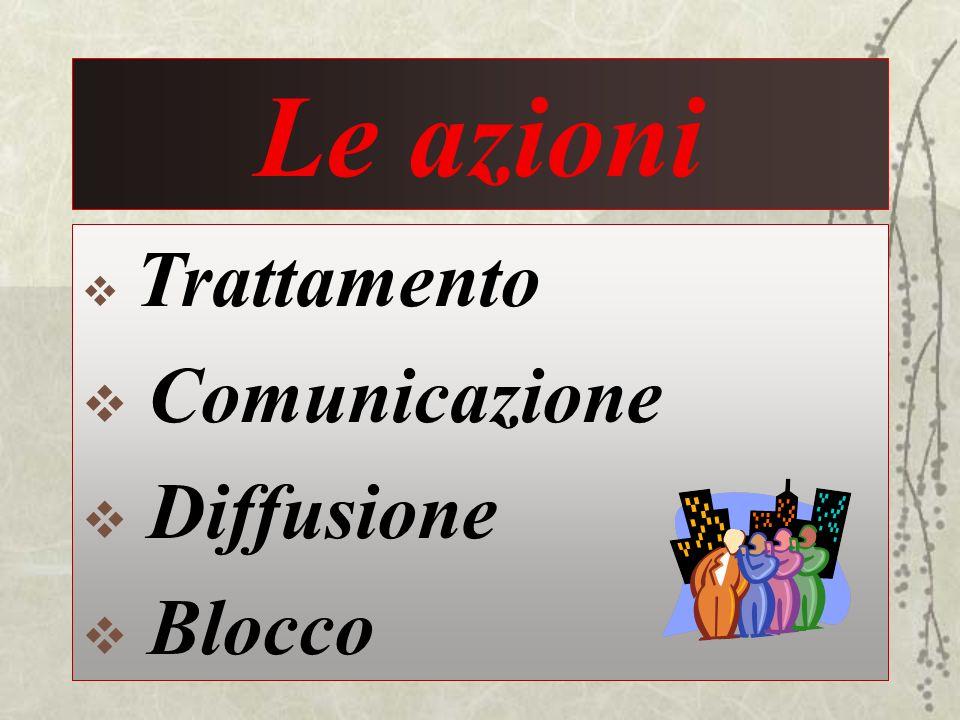 Le azioni Trattamento Comunicazione Diffusione Blocco