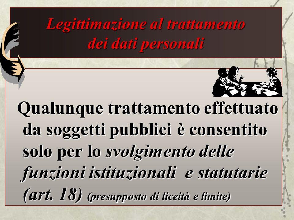 Legittimazione al trattamento dei dati personali Qualunque trattamento effettuato da soggetti pubblici è consentito solo per lo svolgimento delle funz