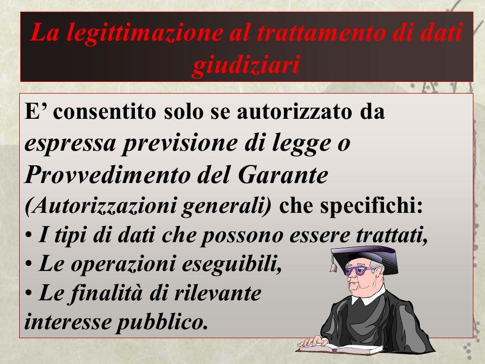 La legittimazione al trattamento di dati giudiziari E consentito solo se autorizzato da espressa previsione di legge o Provvedimento del Garante (Auto