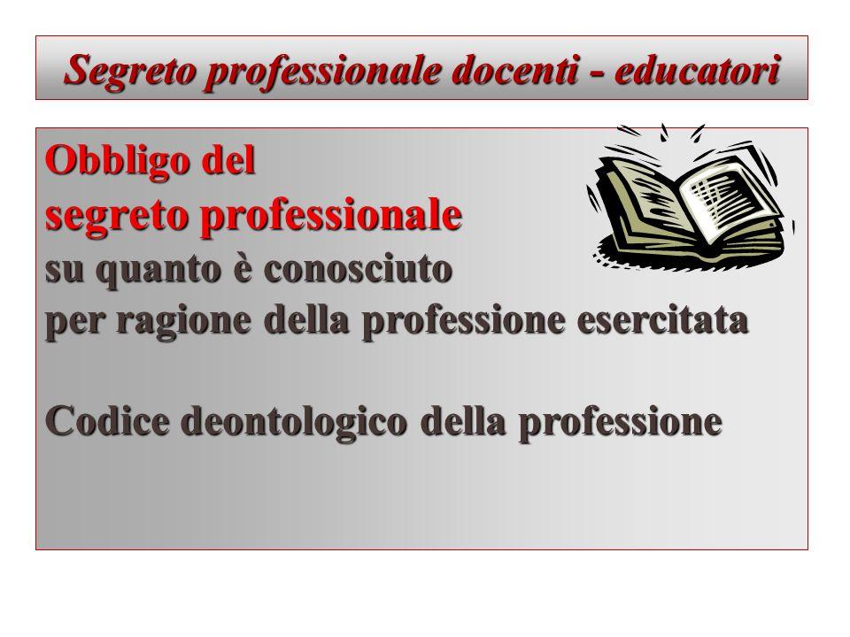 Segreto professionale docenti - educatori Obbligo del segreto professionale su quanto è conosciuto per ragione della professione esercitata Codice deo