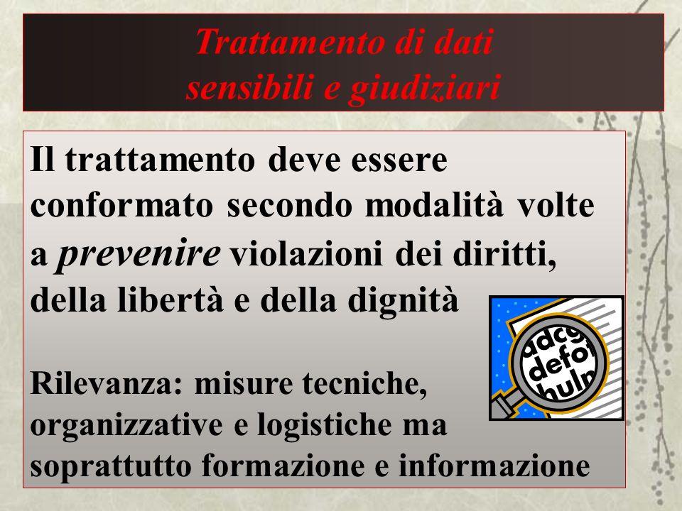 Trattamento di dati sensibili e giudiziari Il trattamento deve essere conformato secondo modalità volte a prevenire violazioni dei diritti, della libe