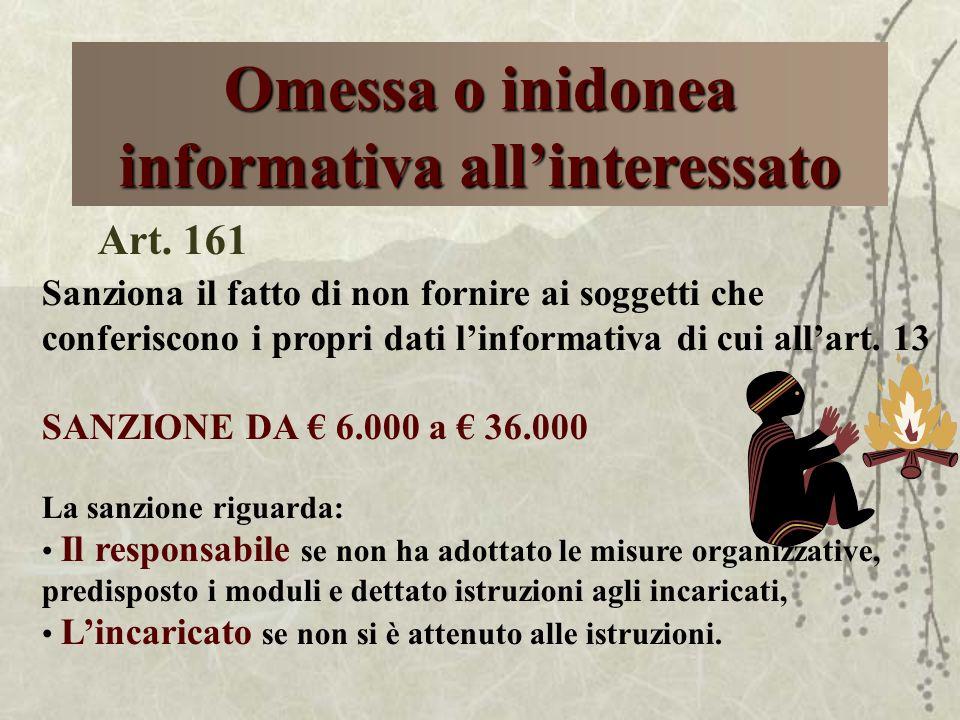 Omessa o inidonea informativa allinteressato Art. 161 Sanziona il fatto di non fornire ai soggetti che conferiscono i propri dati linformativa di cui