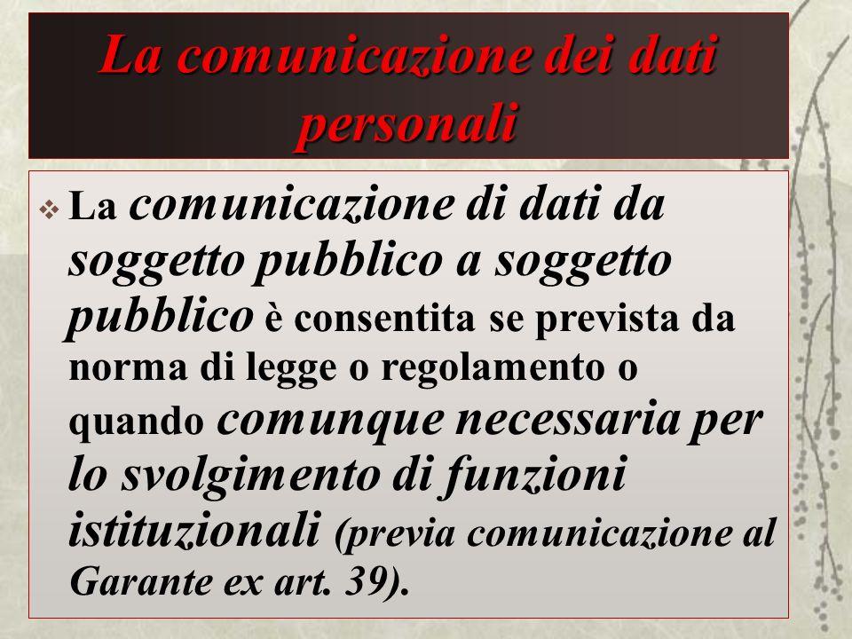 La comunicazione dei dati personali La comunicazione di dati da soggetto pubblico a soggetto pubblico è consentita se prevista da norma di legge o reg