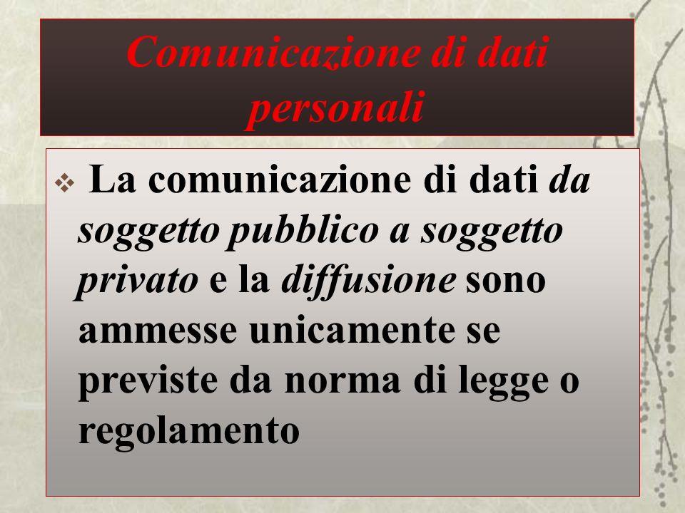 Comunicazione di dati personali La comunicazione di dati da soggetto pubblico a soggetto privato e la diffusione sono ammesse unicamente se previste d