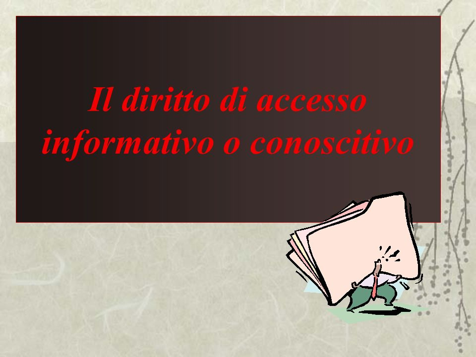 Il diritto di accesso informativo o conoscitivo