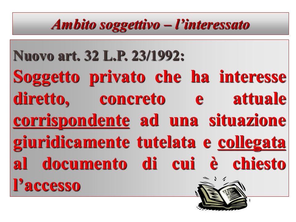 Ambito soggettivo – linteressato Nuovo art. 32 L.P. 23/1992: Soggetto privato che ha interesse diretto, concreto e attuale corrispondente ad una situa