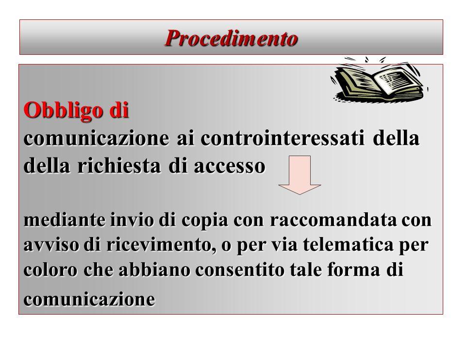 Procedimento Obbligo di comunicazione ai controinteressati della della richiesta di accesso mediante invio di copia con raccomandata con avviso di ric