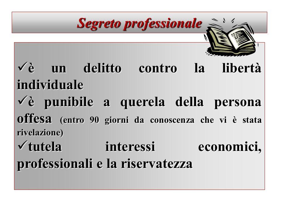 Segreto professionale è un delitto contro la libertà individuale è un delitto contro la libertà individuale è punibile a querela della persona offesa