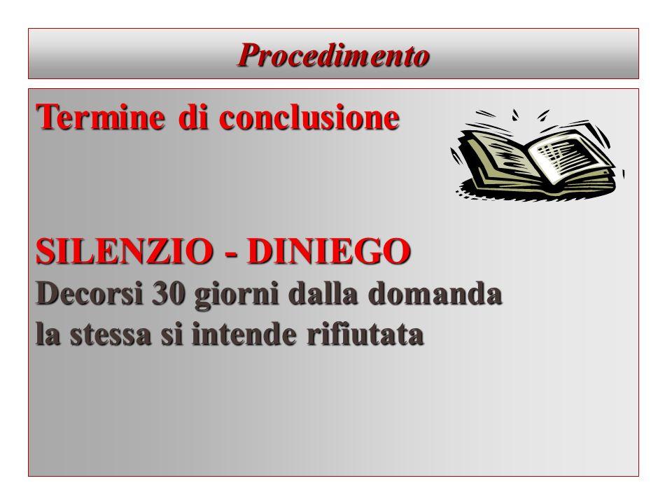 Procedimento Termine di conclusione SILENZIO - DINIEGO Decorsi 30 giorni dalla domanda la stessa si intende rifiutata