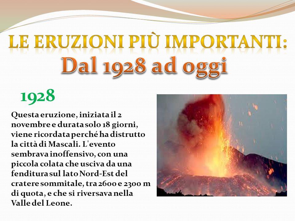 1971 Durante l eruzione del 1971, protrattasi per 69 giorni, furono emessi 75 milioni di m 3 di magma da numerose bocche distribuite sia sul lato Nord-Est che su quello Sud, tra quota 3050 e quota 1800 m.