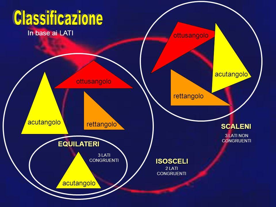 ISOSCELI EQUILATERI SCALENI ottusangolo acutangolo rettangolo acutangolo rettangolo acutangolo ottusangolo In base ai LATI 3 LATI CONGRUENTI 2 LATI CONGRUENTI 3 LATI NON CONGRUENTI