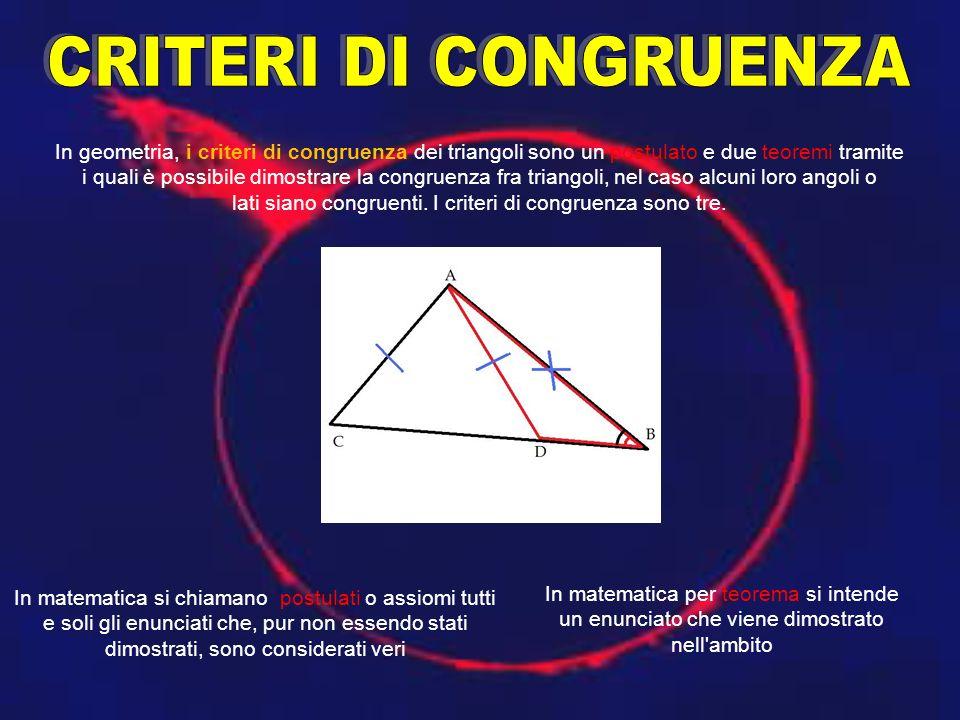 In geometria, i criteri di congruenza dei triangoli sono un postulato e due teoremi tramite i quali è possibile dimostrare la congruenza fra triangoli, nel caso alcuni loro angoli o lati siano congruenti.